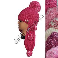 Вязаная шапка на флисе с шарфом для девочек 3-5 лет W421 оптом в Одессе.