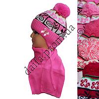 Вязаная шапка на флисе с шарфом для девочек 3-5 лет W423 оптом в Одессе.
