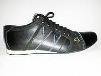 Мужские кожаные спортивные туфли польские черные Basso 1371