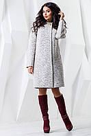 Демисезонное женское белое пальто В-981 W09+BND Тон 15 44-62 размер
