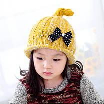 Шапка детская с бантиком в горошек, фото 2
