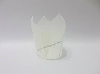 """Формочка бумажная для выпечки """"Тюльпан белый"""" d 5 см h 8 см"""