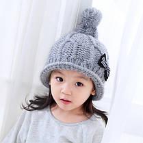 Шапка детская с бантиком в полосочку, фото 2