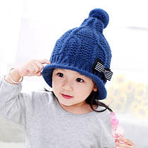 Шапка детская с бантиком в полосочку, фото 3