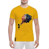 Футболка мужская с рисунком Космос и девочка, фото 1