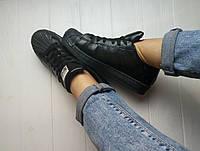 Женские и мужские спортивные кроссовки кеды Adidas Superstar All black Адидас Суперстар реплика