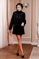 Женское черное пальто В-974 Кашемир Тон 21 44-54 размер