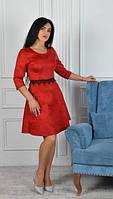 Платье. Платья. Женское платье. Оригинальное красное замшевое платье стурецким кружевом