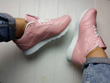 Женские кроссовки Reebok Pink Classic (розовые) 36 размер реплика, фото 2