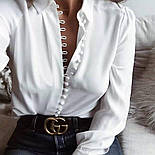 Женская стильная белаярубашка на пуговицах , фото 2
