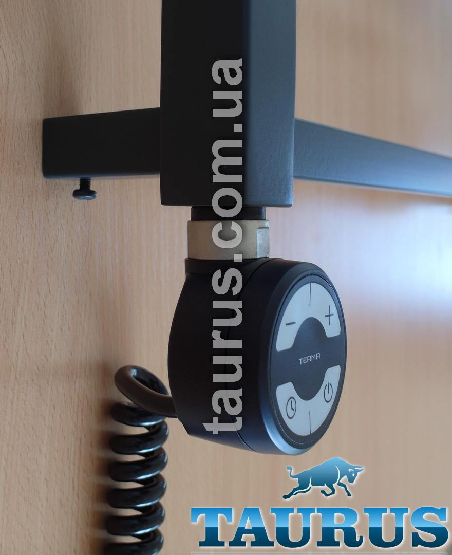 """Чёрный ТЭН TERMA MOA BLACK с регулятором 30-65C + таймер 2 ч. + LED, для полотенцесушителя 1/2"""", Польша"""