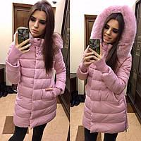 Женская зимняя куртка плащ с капюшоном холлофайбер