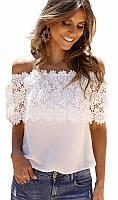 Пляжная блузка с кружевной отделкой