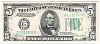 """Деньги сувенирные """"5 $"""". В упак:80шт."""