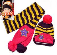 Шапка и шарф детские осенние для девочки