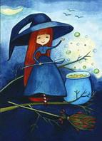 """Открытка к хеллоуину """"Маленькая ведьмочка"""", фото 1"""