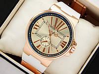 Кварцевые наручные часы Ulysse Nardin с римскими цифрами на каучуковом ремешке белого цвета, фото 1