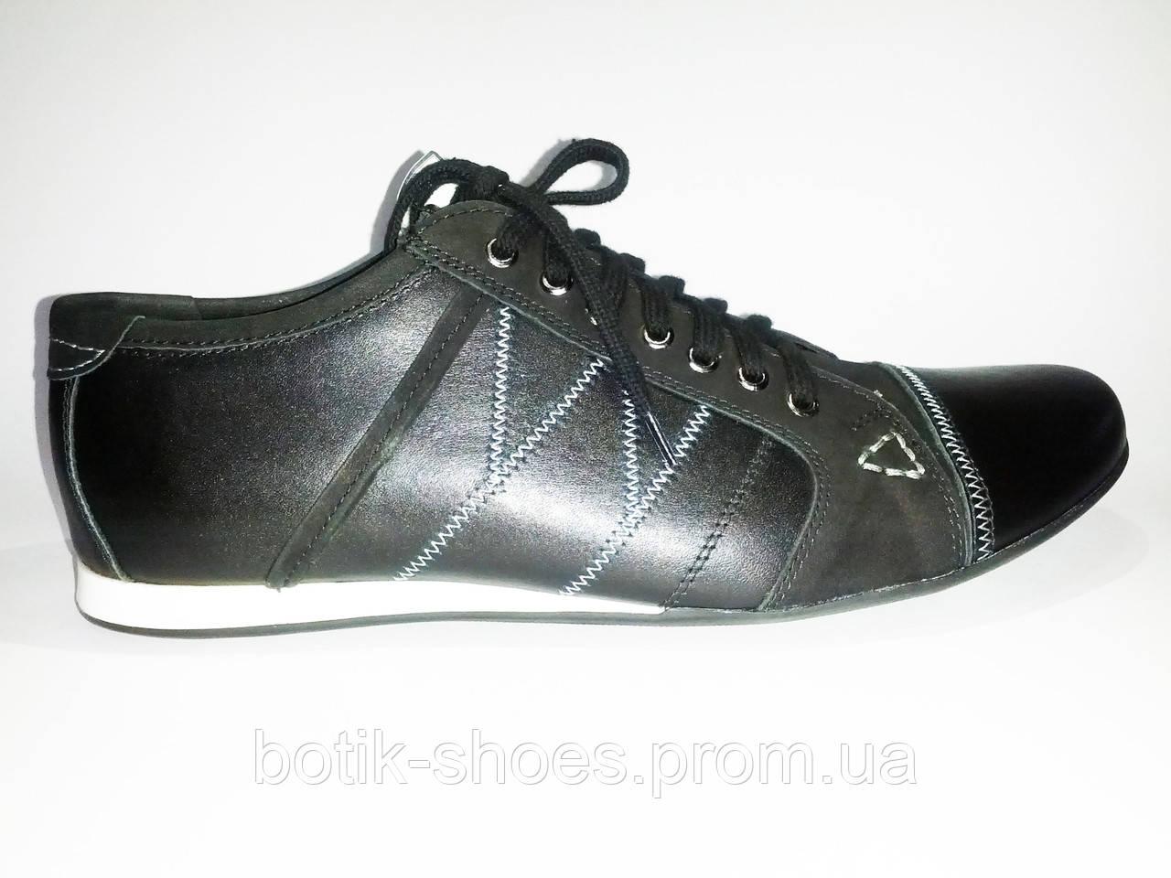 b7774554d Кожаные польские мужские удобные стильные модные черные спортивные туфли  44р Basso - интернет-магазин обуви