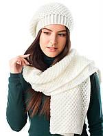 Шикарный вязаный комплект берет и шарф