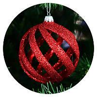 """Новогодний елочный шар """"Спираль"""" (красный), фото 1"""