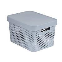 Коробка пластиковая с крышкой Curver Infinity 229168 серая ажурная 17 л