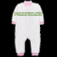 Детский спальник р 86 7 8 9 месяцев слип человечек пижама спальный комбинезон для сна ИНТЕРЛОК 3772 Розовый
