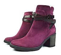 Вишневые осенние женские замшевые ботинки ARI ANDANO на устойчивом каблуке, фото 1