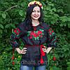 """Женская сорочка """"Макова роса"""" лен , черная, фото 2"""