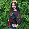 """Женская сорочка """"Макова роса"""" лен , черная, фото 3"""