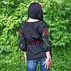 """Женская сорочка """"Макова роса"""" лен , черная, фото 4"""