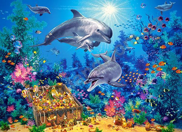 Пазлы Castorland Семья дельфинов, 300 элементов