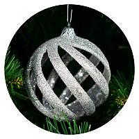 """Новогодний елочный шар """"Спираль"""" (серебряный)"""