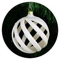 "Новогодний елочный шар ""Спираль"" (белый), фото 1"
