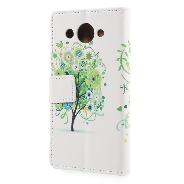 чехол книжка на Huawei Y3 2017 с зеленым деревом и бабочками