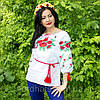 """Женская сорочка """"Макова роса"""" лен , белая, фото 2"""
