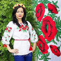 """Женская сорочка """"Макова роса"""" лен , белая"""