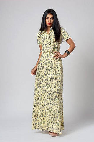 Легкое летнее платье в желтом цвете длинное в пол от оптово ... 455ea9fee83