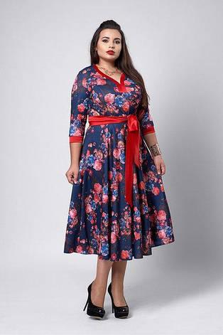 Жіноче плаття в квітковий принт під пояс розмір 50-54, фото 2