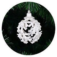 "Новогодний елочный шар ""Листики"" (белый), фото 1"