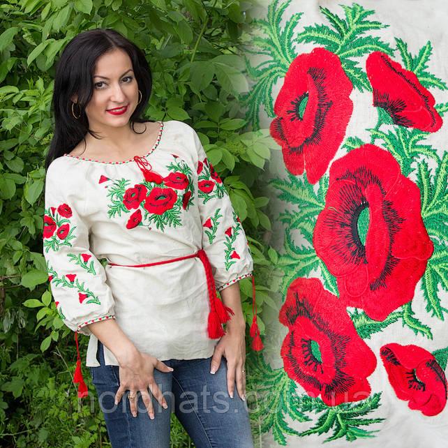 """Женская сорочка """"Макова роса"""" лен , бежевая"""