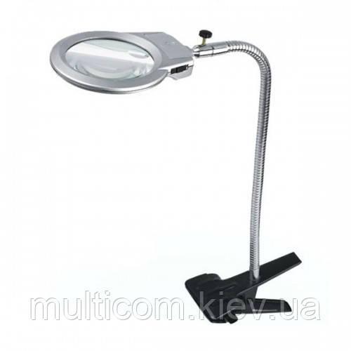 14-01-024 Лупа настольная MG15120-A гибкая с прищепкой,LED-подсветка, 2,5Х, диам-90мм+5Х