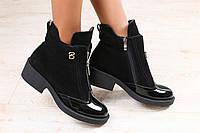 Женские демисезонные ботинки, черные, замшевые, на байке, с лакированным носочком, на не большом каблуке