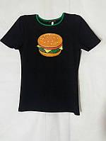 Футболка жіноча з зеленим оздобленням гамбургер ручної роботи
