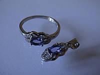 Танзанит натуральный серебряный комплект кольцо кулон серебро 925