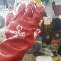 Перчатка маслостойкая х/б трикотаж покрытая PVC, 35 см (красная)