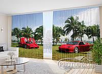 """Фото Шторы в зал """"Красные феррари"""" 2,7м*4,0м (2 полотна по 2,0м), тесьма"""