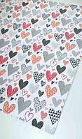 Упаковочная бумага сердечки  68х48см