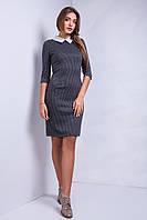 Офисное трикотажное платье черного цвета с рубашечным воротником