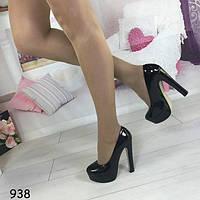 Туфли лаковые на высоком каблуке черные 938