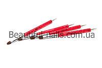 Кисть для геля + дотс для дизайна, красная ручка